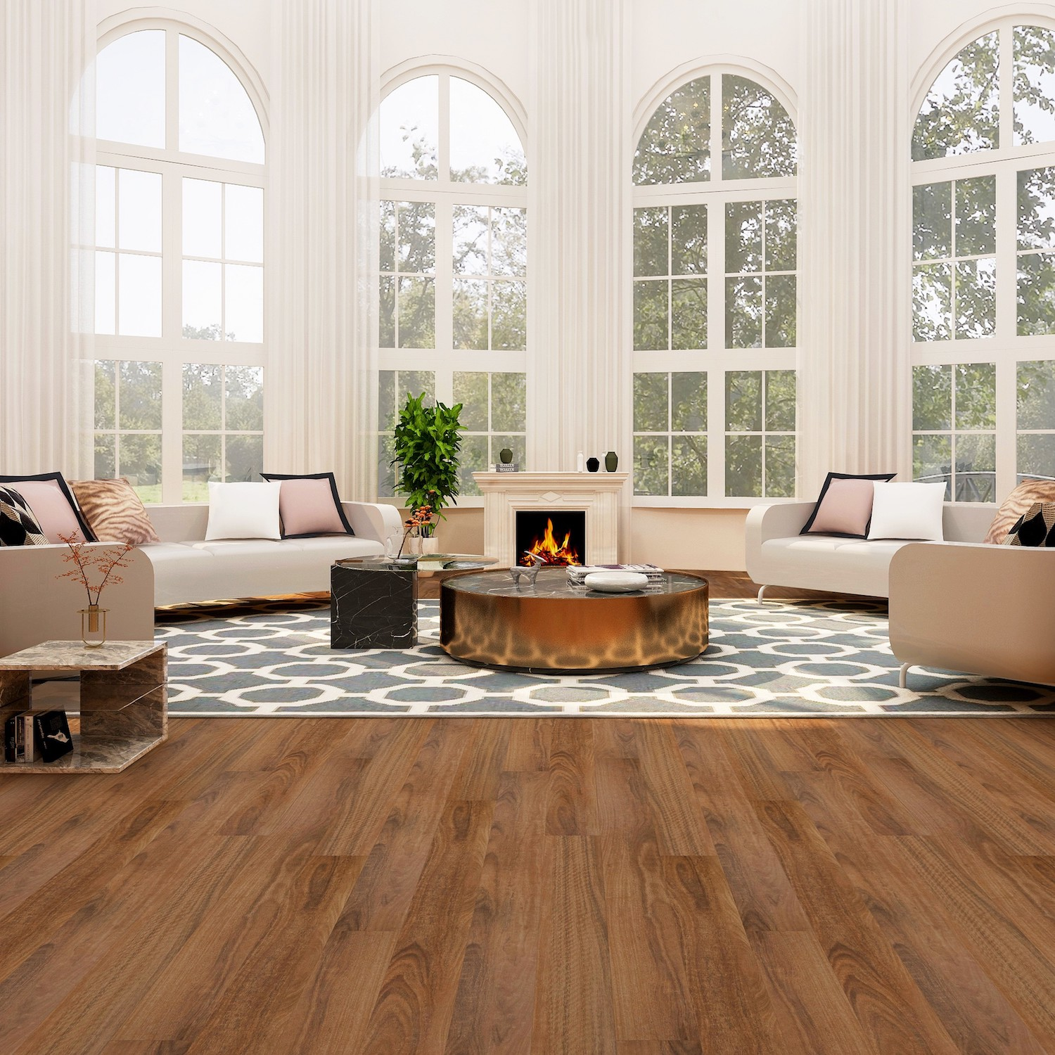 The Luxury Edition introduces the robustness of a laminate floor with the authentic look of a naturally wide and long timber plank. The Abrasion Class of the AC4 surface is up to 40X more resistant to scratching than a lacquered surface. The detail in the genuine-looking decor is not repeated over the entire length of the plank, which makes it a great cost effective alternative to wooden floors. The all-round v-grove provides an expansive impression across the entire floor. There are also matching stair noising & scotia trims available to fit most designs.